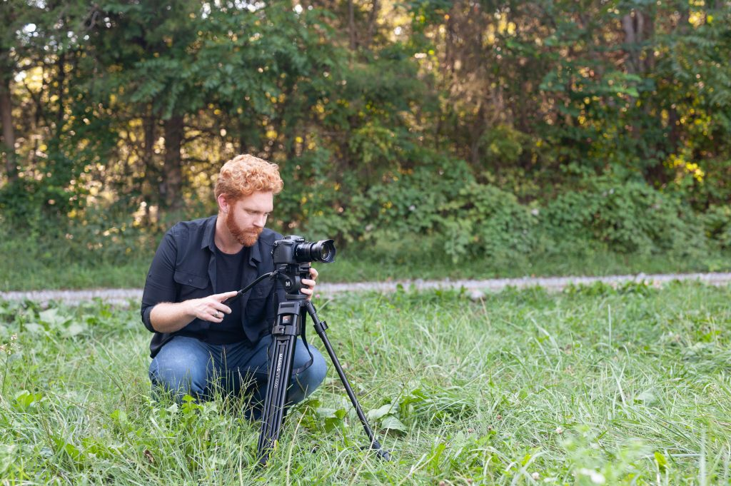 Caelan Gregory filming for Fiddlers Green Farm Video